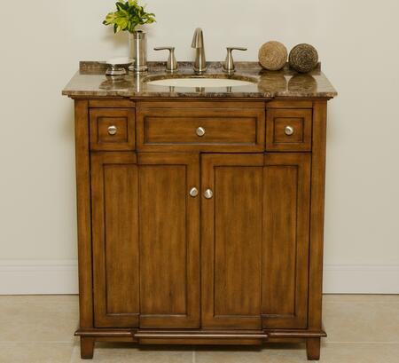 2009LB 34 inch  New York Single Vanity With Bisque Sink  Brown Marble Countertop  2 Doors  One Shelf  1 inch  Attached Backsplash & Light Brown