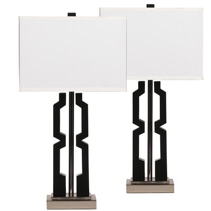 FSD-LMP-55BKSZ-GG Exceptional Table Lamp Set Designs by Flash Mitzi Black and Silver Poly Set of