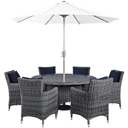 Summon Collection EEI-2329-GRY-NAV-SET 8-Piece Outdoor Patio Sunbrella Dining Set with Umbrella & Pole  Round Dining Table and 6 Armchairs in Canvas