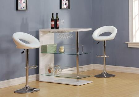 Valdin 71300T2S 3 PC Bar Table Set with Bar Table + 2 Swivel Stools in White and Chrome