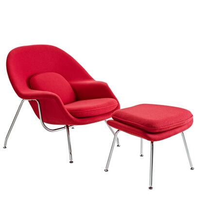 "Womb Collection EEI-113-RED 38"" Lounge Chair with Ottoman Included  Stainless Steel Frame  Foam Padding and Fabric Upholstery in Red"