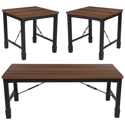 Brentwood Collection NAN-CEK-25-GG 3 Piece Coffee And End Table Set In Rustic Walnut Finish And Black Metal