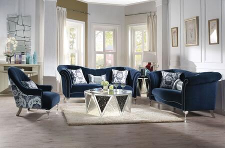 Jaborosa Collection 50345SET 5 PC Living Room Set with Sofa  Loveseat  Chair  Coffee Table and End Table in Mirrored and Blue
