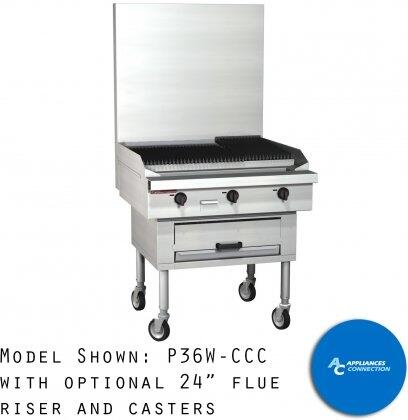 P36WCCC Platinum Series Sectional Charbroiler Range with All Stainless Steel Construction  Six Standard Burners  and Woodsmoker Base  Up to 96000 BTUs