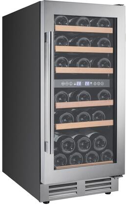 Avanti WCF282E3SD 28 Bottle Designer Series Dual Zone Wine Chiller with Seamless Door, Black with Stainless Steel Doors