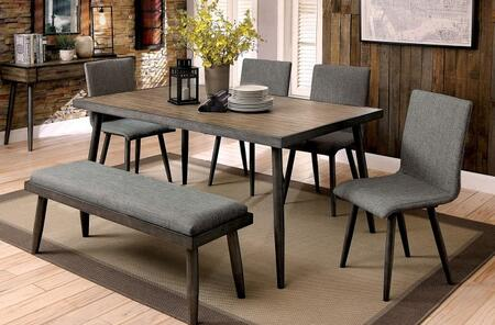Vilhelm I Collection CM3360T4SCBN 6-Piece Dining Room Set with Rectangular Table  4 Side Chairs and Bench in