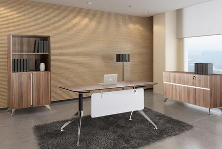 1C300005CWL Walnut Executive Computer Desk with Credenza and