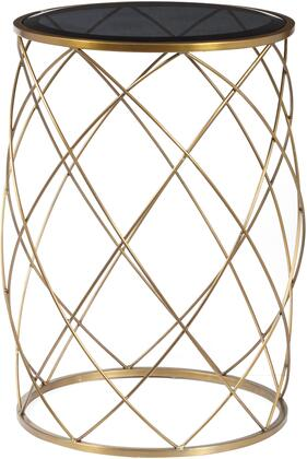 DS-D051030 Convex Round Brass Metal Accent Table with Smoked Glass Top  Iron Base Construction and Curved Bowing Lines  in a Brass