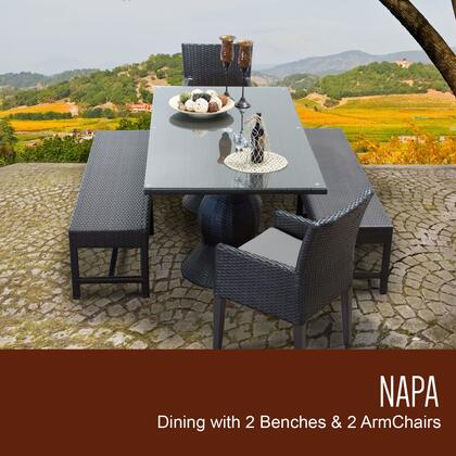 NAPA-RECTANGLE-KIT-2DC2DB-C-GREY Napa Rectangular Outdoor Patio Dining Table with 2 Chairs w/ Arms and 2 Benches with 2 Covers: Wheat and