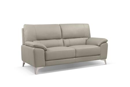 SO1466LSTAU Tatiana Sofa  Taupe Top Grain Leather  Polished Stainless Steel