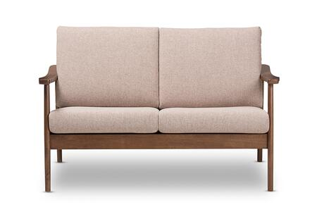 VENZA-BROWN/WALNUT BROWN-LS Baxton Studio Venza Mid-Century Modern Walnut Wood Light Brown Fabric Upholstered 2-Seater