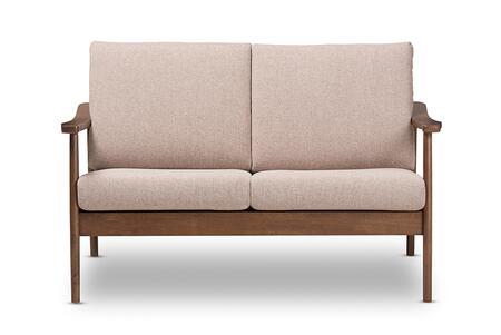 VENZA-BROWN/WALNUT BROWN-LS Baxton Studio Venza Mid-Century Modern Walnut Wood Light Brown Fabric Upholstered 2-Seater