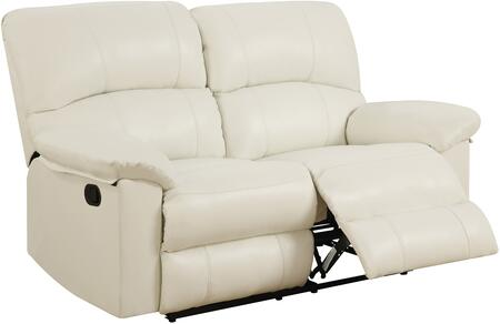 U99270-WHITE-RLS 64 inch  Reclining Loveseat with Plush Padded Arms and Split Back Cushion in