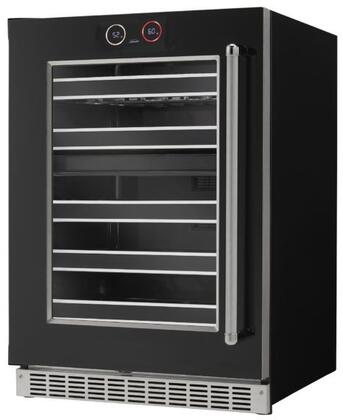 SRVWC050L 24 inch  Silouhette Series Dual Temperature Zone Wine Cooler with NEK Storage System  37 Wine Bottle Capacity  5 Maple Slide Out Shelves  and Parametric