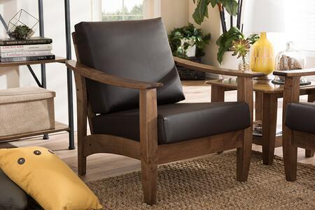 SW3656-DARK BROWN/WALNUT-M17-CC Baxton Studio Pierce Mid-Century Modern Walnut Brown Wood and Dark Brown Faux Leather 1-Seater Lounge