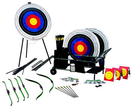A4400 All-in-One Archery Cart with Foam Targets  Target Faces  Tripod Stands  Bows  Safetyglass Arrows  Armguards  Shooting Gloves  Ground Quivers and  inch ABC's