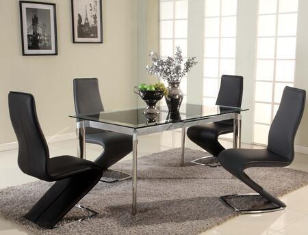 Tara-blk-5pc-grey Tara Dining 5 Piece Set Table With 4 Grey Z Style Side