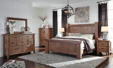 Tamilo Queen Bedroom Set With Poster Bed  Dresser  Mirror  2 Nightstands And Chest In Greyish Brown