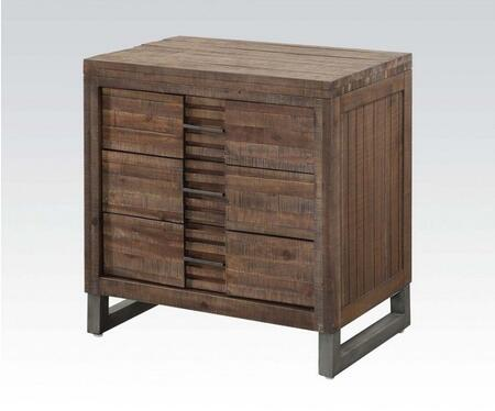 Andria Collection 21293 28 inch  Nightstand with 3 Drawers  Nickel Metal Legs  Metal Hardware and Acacia Wood Construction in Reclaimed Oak