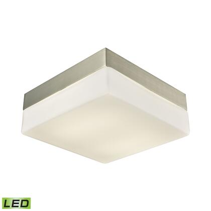 FML2020-10-16M Wyngate 2 Light Square LED Flushmount In Satin Nickel And Opal Glass -