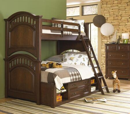 Expedition 84687303132SETB 3 PC Bedroom Set with Twin Size Bunk Bed + Chest + Underbed Storage Unit in Cherry