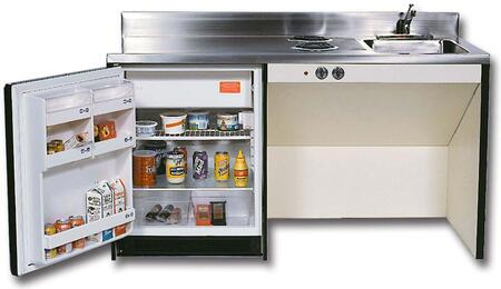 RGS72BF Barrier Free Kitchenettes Compact Kitchens with Stainless Steel Sink  2 Gas Burners and 6.0 cu. ft. Removable Automatic Defrost Refrigerator: 72