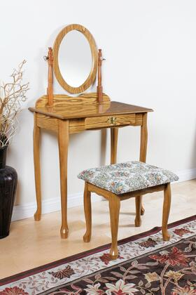 Queen Anne Collection 02337OAK 3 PC Pack Vanity Set with 1 Drawer Vanity Table  Swivel Mirror  Fabric Cushion Seat Stool and Wood Veneer Construction in Oak