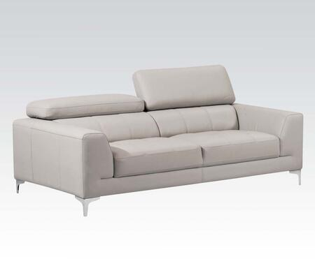 Embry Collection 51355 Sofa with Metal Legs  Adjustable Headrests and Top Grain Leather Match Upholstery in Light Grey