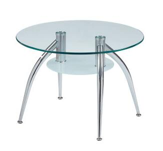 T659E Clear Glass Top End Table  Frosted Shelf  Stylish Metal