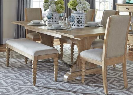 Harbor View Collection 531-DR-O6TRS 6-Piece Dining Room Set with Trestle Table  Bench and 4 Upholstered Side Chairs in Sand