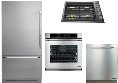 4-Piece Stainless Steel Kitchen Package with DYF36BFTSL 36 inch  Bottom Freezer Refrigerator  DTG30M954FS 30 inch  Natural Gas Cooktop  RNWO130ES 30 inch  Single Wall Oven