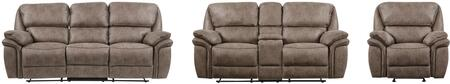 U140-RSCRLSGR 3-Piece Living Room Set with Reclining Sofa  Reclining Loveseat and Recliner in