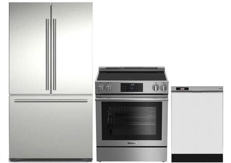 3-Piece Kitchen Package with BRFD2230SS 36 inch  French Door Refrigerator  BERU30420SS 30 inch   Freestanding Electric Range  and DWT25200SSWS 24 inch  Built In Full Console
