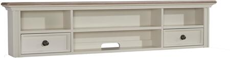 "Sarvanny H58348 61"" Home Office Short Desk Hutch with 2 Drawers  4 Open Compartments and Natural Ash Veneer Tops in Cream"