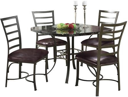 Daisy Collection 70157 5 PC Dining Room Set with 4 Side Chairs  Square Dining Table  Black Faux Marble Paper Veneer Top  PU Leather Upholstery and Metal