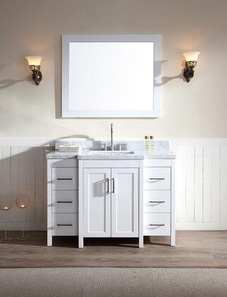 E049SWHT ARIEL Hollandale 49 inch  Single Sink Vanity Set with Marble Top  Mirror  Six Drawers and Two Doors in