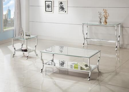 Ocassionals Table 720338CSE 3 PC Living Room Table Set with Coffee Table + Sofa Table + End Table in Chrome
