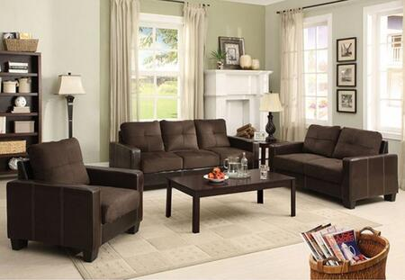 Laverne Collection CM6598DK-SLC 3-Piece Living Room Set with Stationary Sofa  Loveseat and Chair in Chocolate and