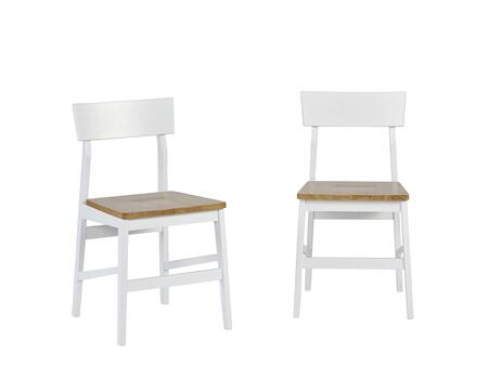 Christy D878-61 Dining Chairs (Set of 2) with Stretchers  Tapered Legs and Rubberwood Solids Construction in Light Oak and