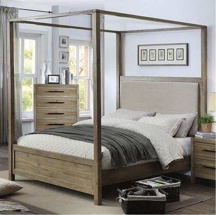 CM7356Q-BED Queen Size Bed with Wood Veneer  Canopy Style and Tufted Headboard  in Light