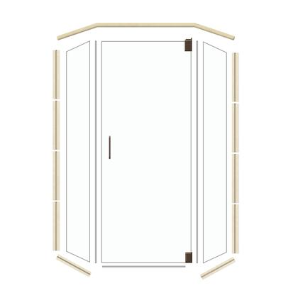 N4242SOOB Neo 42 inch  x 42 inch  Old World Bronze Glass with Sonoma Threshold and Frameless Hinge