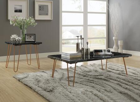 Telestis Collection 84515SET 2 PC Living Room Table Set with Rectangular Shaped Coffee Table and Square Shaped End Table in Black
