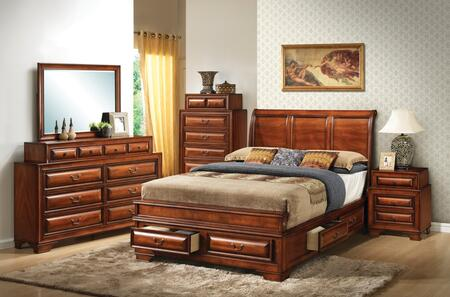 G8850A-FBDMNC 5-Piece Bedroom Set with Full Size Storage Bed + Dresser + Mirror + Sinlge Nightstands + Chest  in