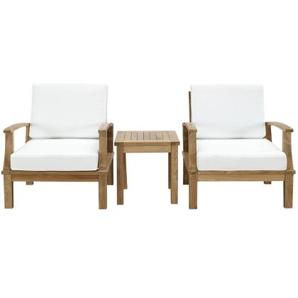 Maina Collection EEI-1487-NAT-WHI-SET 3 Piece Outdoor Patio Armchair Set with 2 Armchairs  Square Side Table  Water Resistatn Cushions and Solid Teak Wood