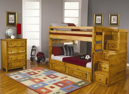 460140460240F Wrangle Hill Full Over Full Bunk Bed + Under Dresser + Stairway Chest + Chest in Amber Wash