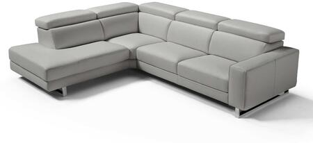 SL1421LSLGRY Augusto Large Sectional 100% Made In Italy  Chaise On Left When Facing  Light Grey Top Grain Italian Leather 1062 L09S  Adjustable Headrest