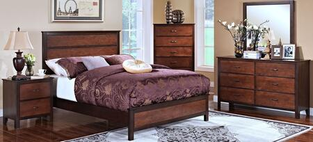 00145qbdmnc Bishop 5 Piece Bedroom Set With Queen Bed  Dresser  Mirror  Nightstand And Chest  In