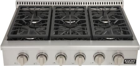 Kucht KRT361GU/LP Professional 36 Propane Gas Range-Top with Sealed Burners in Stainless Steel, Classic Silver Knobs
