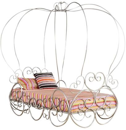 Priya Collection 37190T Twin Size Canopy Bed with Pumpkin Canopy Design  Low Profile  Heart Shaped Design Frame and Metal Tube Construction in Silver