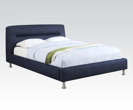 Adney Collection 25067EK King Size Bed with Chrome Legs  Panel Headboard and Fabric Upholstery in Blue Denim